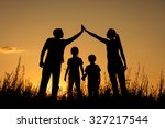 happy family standing in the... | Shutterstock . vector #327217544