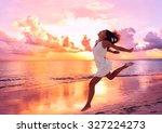 happy beautiful free woman... | Shutterstock . vector #327224273