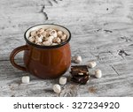 hot chocolate with marshmallows ... | Shutterstock . vector #327234920