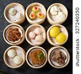aerial view of various yumcha... | Shutterstock . vector #327240350