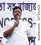 Small photo of West Bengal Minister for Urban Development and the Minister for Municipal Affairs and TMC leader Firhad Hakim addresses TMC supporter in a rally on October 06, 2015 in Calcutta, India.