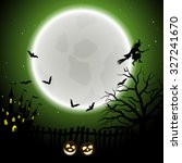 happy halloween greeting card.... | Shutterstock .eps vector #327241670