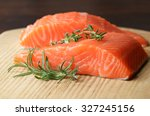 Raw Salmon Fillet With Rosemar...