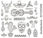 set of mexican traditional and...   Shutterstock .eps vector #327255200