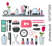 make up flat icons. vector... | Shutterstock .eps vector #327257324