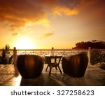 terrace lounge with rattan... | Shutterstock . vector #327258623