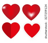 red hearts   vector set | Shutterstock .eps vector #327259124