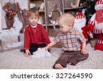 two brothers are playing under... | Shutterstock . vector #327264590