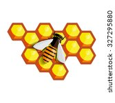 bee sitting on a comb of honey. ... | Shutterstock .eps vector #327295880