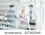 group of employees talking at...   Shutterstock . vector #327302240