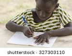 black african girl drawing and... | Shutterstock . vector #327303110