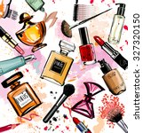 watercolor cosmetics and... | Shutterstock .eps vector #327320150