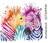 Stock photo zebra illustration with splash watercolor texture rainbow background for fashion print poster 327339944