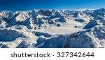 panorama of snow mountain range....