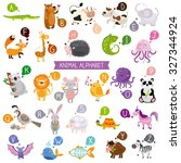 cute english illustrated zoo... | Shutterstock .eps vector #327344924