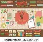 christmas scrapbook set   Shutterstock .eps vector #327354644