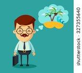 cute cartoon office worker...   Shutterstock .eps vector #327355640