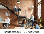 start of a busy day at work in... | Shutterstock . vector #327359906