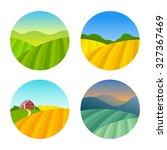 set of farm fields landscapes.... | Shutterstock .eps vector #327367469