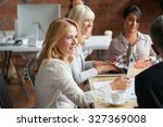 business people meeting around... | Shutterstock . vector #327369008