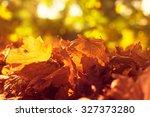autumn maple leaves background | Shutterstock . vector #327373280