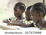 two beautiful african girls and ... | Shutterstock . vector #327373988