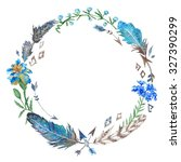 boho floral and feather wreath  ... | Shutterstock . vector #327390299