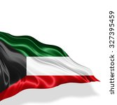 kuwait  flag of silk with... | Shutterstock . vector #327395459