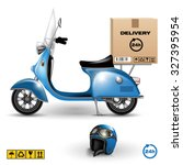 delivery scooter with big box... | Shutterstock .eps vector #327395954