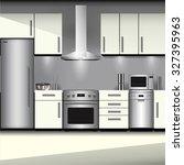 kitchen interior with... | Shutterstock .eps vector #327395963