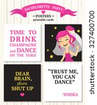 bachelorette party posters with ... | Shutterstock .eps vector #327400700