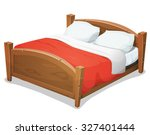 wood double bed with red...