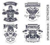 set of vintage motorcycle... | Shutterstock .eps vector #327403928