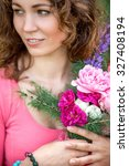 girl with a bouquet in the... | Shutterstock . vector #327408194