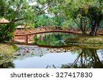 beautiful garden with bridge... | Shutterstock . vector #327417830