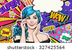 illustration of blue head girl ... | Shutterstock . vector #327425564