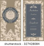set of antique greeting cards ... | Shutterstock .eps vector #327428084