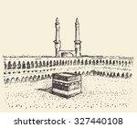 holy kaaba in mecca saudi... | Shutterstock .eps vector #327440108
