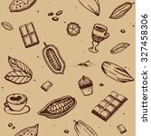 chocolate cacao pattern  bean ... | Shutterstock .eps vector #327458306