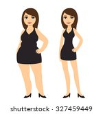 cartoon woman in black dress ... | Shutterstock .eps vector #327459449