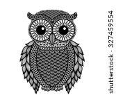 zentangle stylized black owl.... | Shutterstock .eps vector #327459554