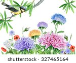 watercolor image with flowers... | Shutterstock . vector #327465164