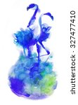 blue flamingos watercolor... | Shutterstock . vector #327477410