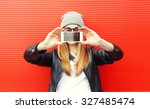 hipster cool girl taking... | Shutterstock . vector #327485474