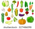 assorted farm vegetables set... | Shutterstock .eps vector #327486098