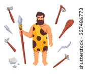stone age primitive man with... | Shutterstock .eps vector #327486773