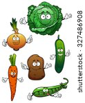 fresh cartoon green cabbage ... | Shutterstock .eps vector #327486908