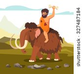 stone age primitive man riding... | Shutterstock .eps vector #327487184