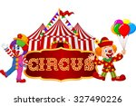 circus tent with clown.... | Shutterstock .eps vector #327490226