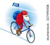 santa bicyclist. vector... | Shutterstock .eps vector #327490508